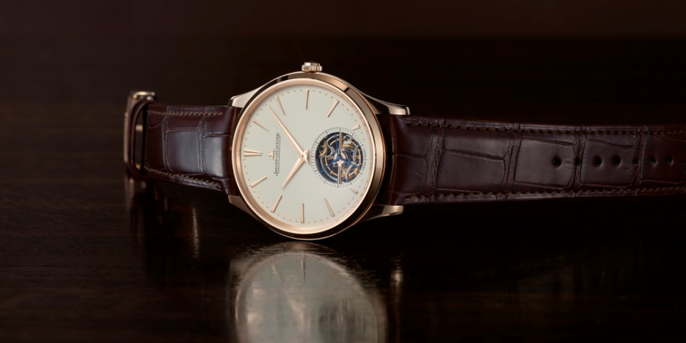 Jaeger-LeCoultre goes pretty in pink gold with the Master Ultra Thin Tourbillon watch