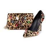 Purse and Pump in leopard pony with precious stones