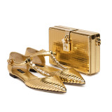 Gold Leather Ladies shoes with applique embroideries and Dolce Box with Dolce lock