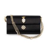 Dolce Clutch, lace on black satin base with Dolce lock