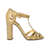 Gold Leather Ladies shoe with rhinestones embellished chunky heel