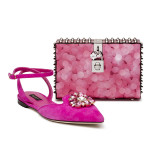Shocking Pink suede Ladies shoe with applique embroideries and Dolce Box with Dolce lock